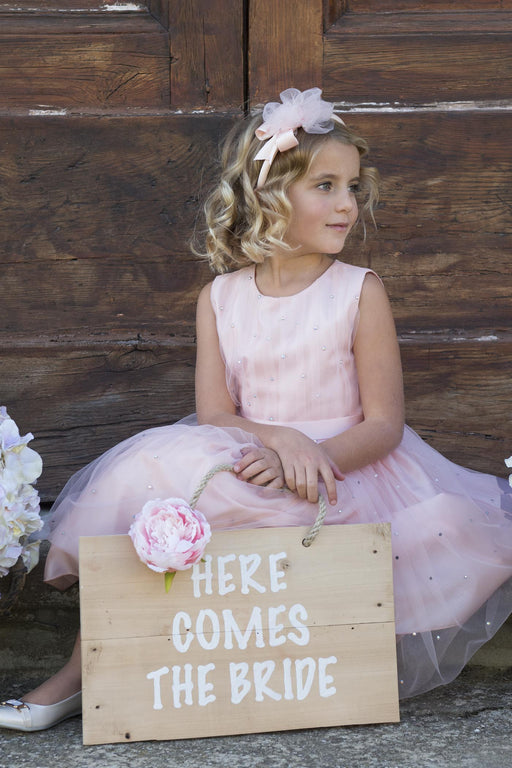 Lesy Pink Headband with Tulle and Crystals 01A7042