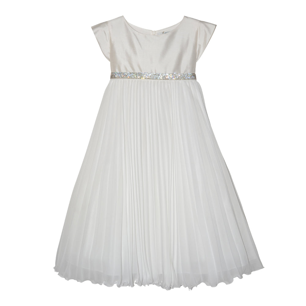 Lesy White Dress with Pleated Skirt in Chiffon 028619