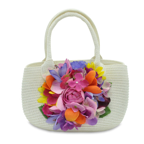 Wicker Handbag with Multicolor Flowers by Lesy at BOYS & GIRLS ONLINE