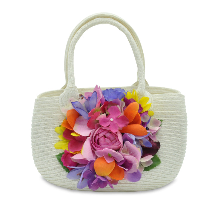 Lesy Wicker Handbag with Multicolor Flowers - Kids clothes online | BOYS & GIRLS ONLINE