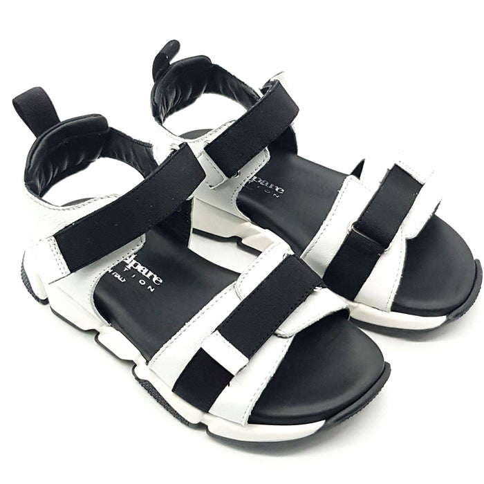 Andrea Montelpare-Black and White Leather Sporty Sandals-boysgirlsonline.com