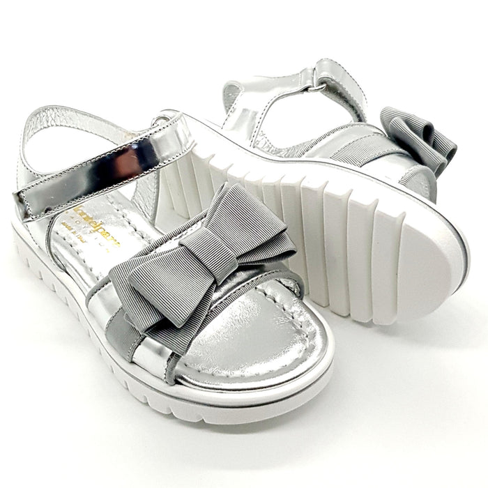 Andrea Montelpare-Girls Silver Nappa Sandals with Bow-boysgirlsonline.com