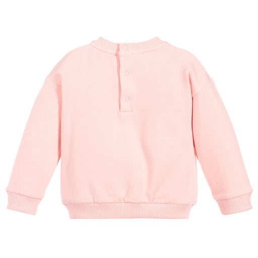 Girls Pink Cotton Teddy Sweatshirt