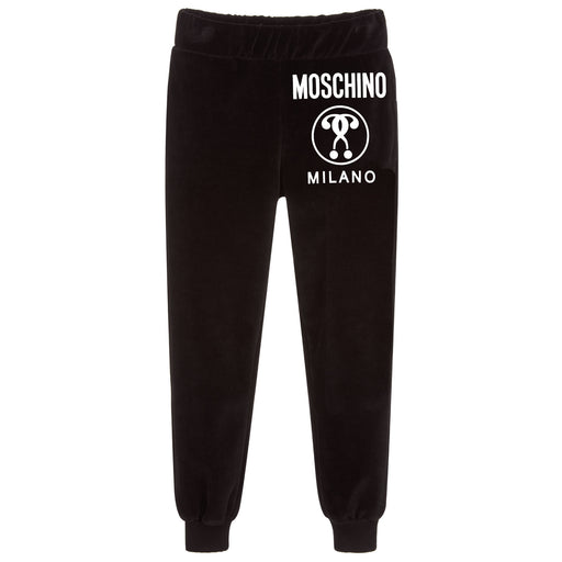 Moschino Black Cotton Logo Joggers - Kids clothes online | BOYS & GIRLS ONLINE