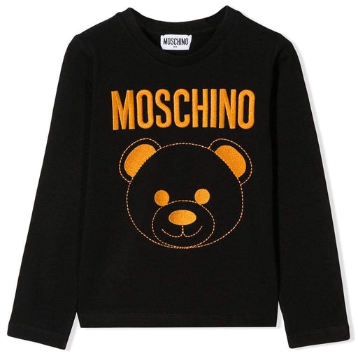 Moschino Black Cotton Logo Top - Kids clothes online | BOYS & GIRLS ONLINE
