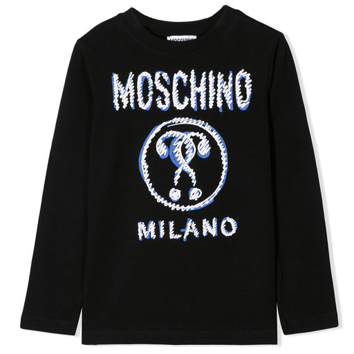 Moschino Black Cotton Moschino Milano Logo T-Shirt - Kids clothes online | BOYS & GIRLS ONLINE