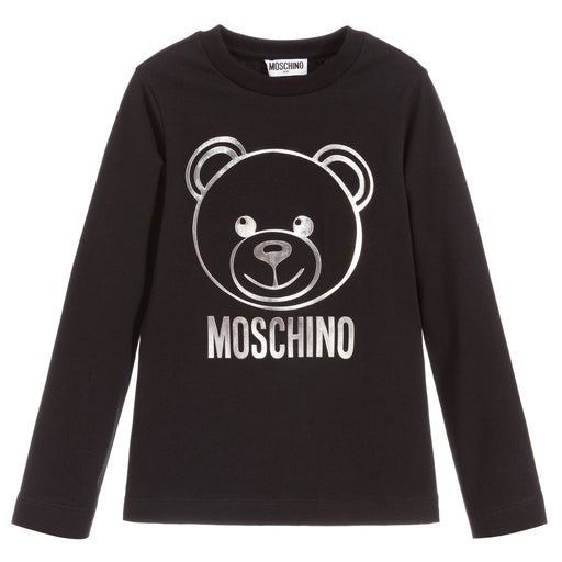 Moschino Black and Silver Cotton Logo Top - Kids clothes online | BOYS & GIRLS ONLINE