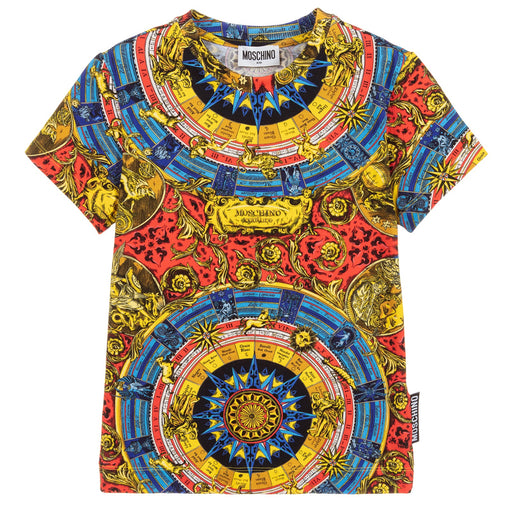 Moschino Boys Baroque Print Cotton T-Shirt - Kids clothes online | BOYS & GIRLS ONLINE