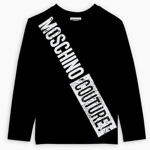 Moschino Boys Black Cotton White Logo Top - Kids clothes online | BOYS & GIRLS ONLINE