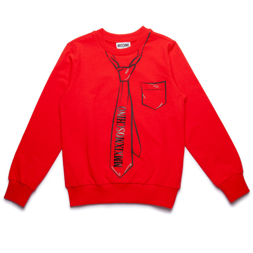 Boys Red Cotton Sweatshirt with Tie Print
