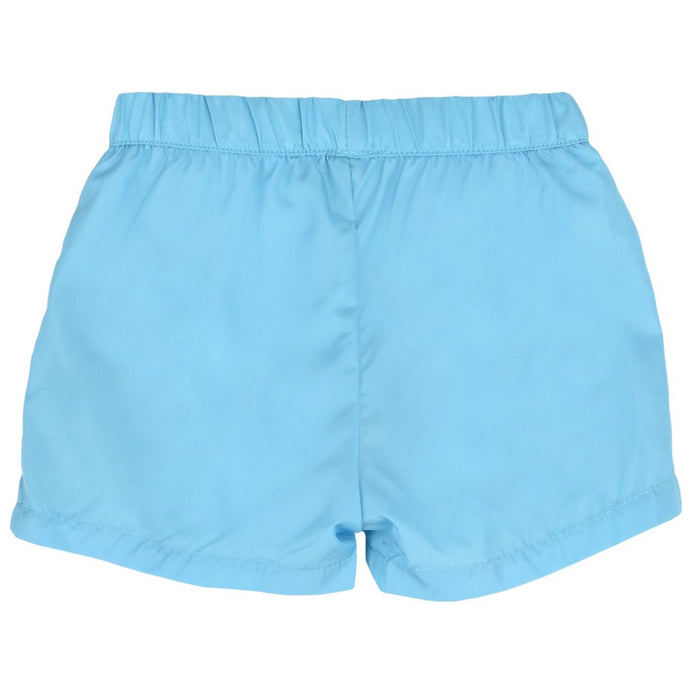 Moschino-Boys Sky Blue Logo Swim Shorts-boysgirlsonline.com