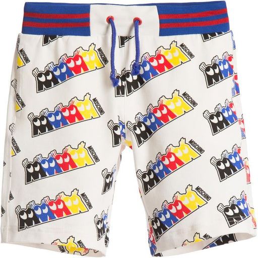 MOSCHINO Boys White Shorts with 'MMMM' Logo Print at BOYS & GIRLS ONLINE