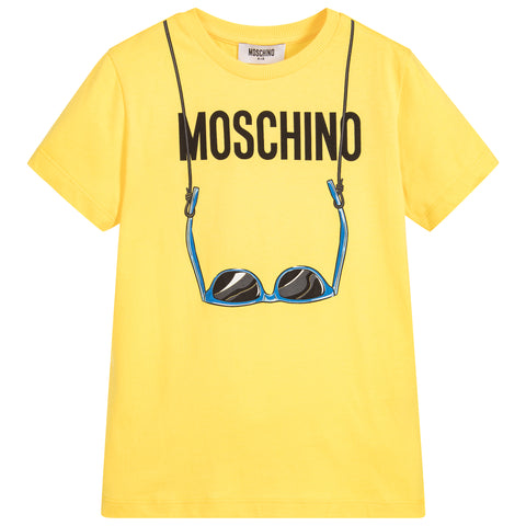 MOSCHINO - Boys Yellow Sunglasses T-Shirt - T-Shirts Short Sleeve Boy at BOYS & GIRLS ONLINE