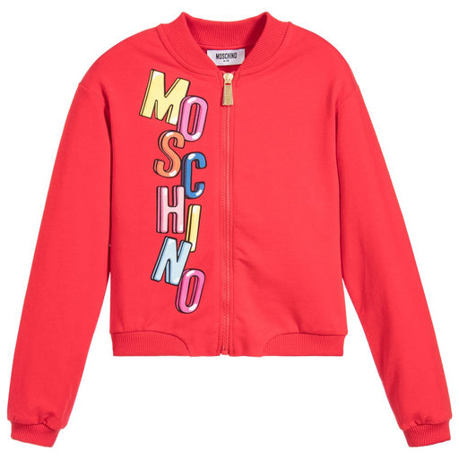 Moschino - Bubble Logo Red Zipped Sweatshirt - Kids clothing at BOYS & GIRLS ONLINE