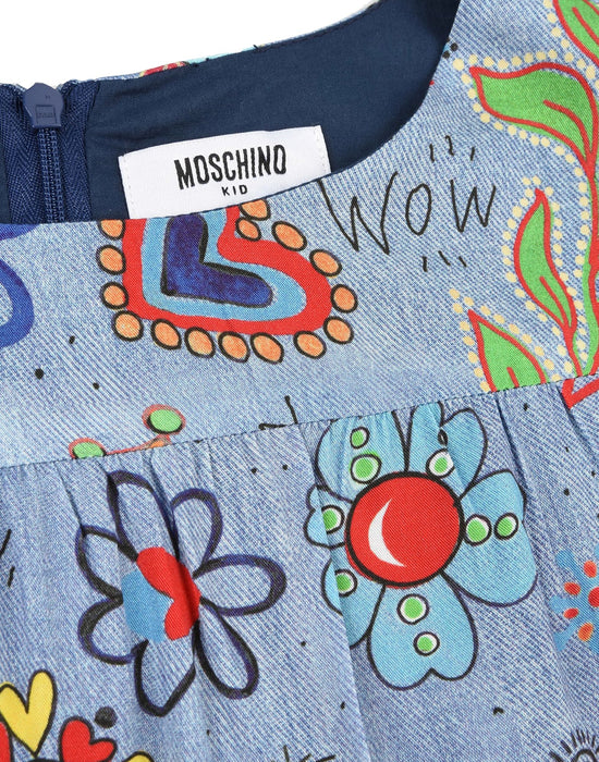 Moschino Girls Blue Multicolor Printed Dress - Kids clothes online | BOYS & GIRLS ONLINE