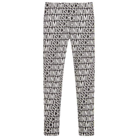 MOSCHINO - Girls Cotton Logo Leggings BW - Leggings Girl at BOYS & GIRLS ONLINE