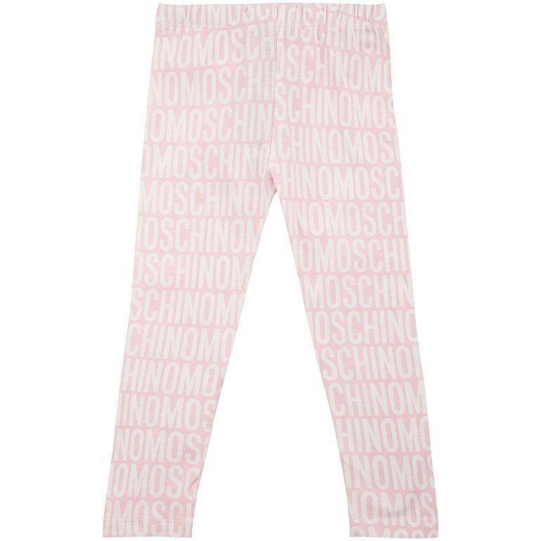 MOSCHINO - Girls Cotton Logo Leggings Pink - Leggings Girl at BOYS & GIRLS ONLINE