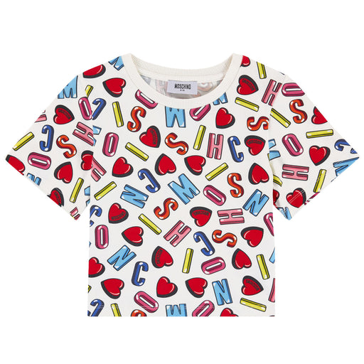 MOSCHINO - Girls Cropped Printed T-Shirt - T-Shirts Short Sleeve Girl at BOYS & GIRLS ONLINE