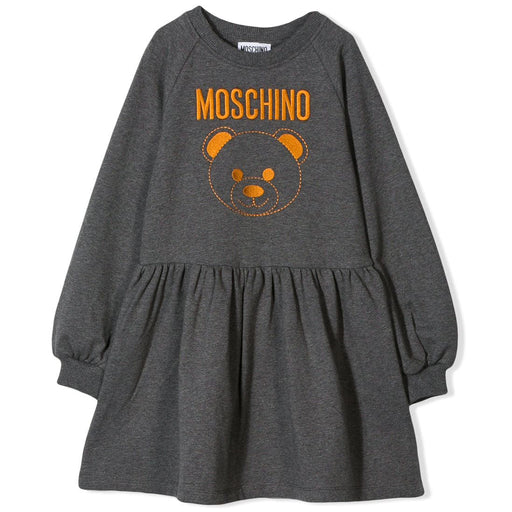 Moschino - Girls Grey Cotton Jersey Dress - Kids clothing at BOYS & GIRLS ONLINE