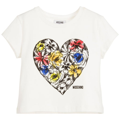 MOSCHINO Ivory Cotton T-Shirt with Urban Graffiti Logo at BOYS & GIRLS ONLINE