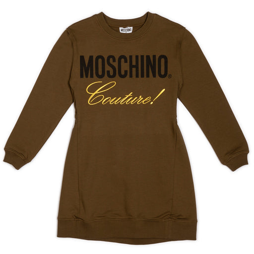 Moschino Girls Khaki Green Cotton Sweatshirt Dress - Kids clothes online | BOYS & GIRLS ONLINE