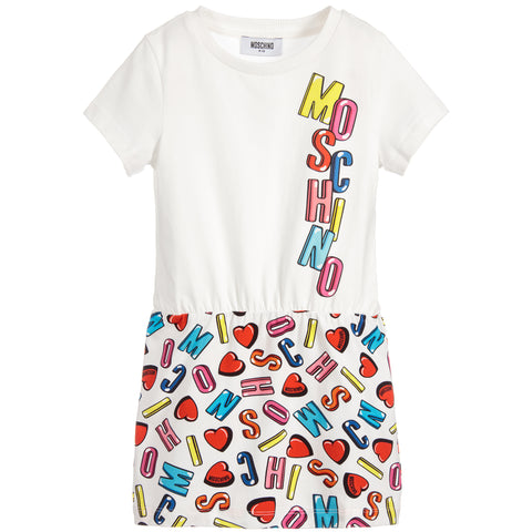 MOSCHINO - Girls Logo Jersey T-Shirt Dress - Dresses at BOYS & GIRLS ONLINE