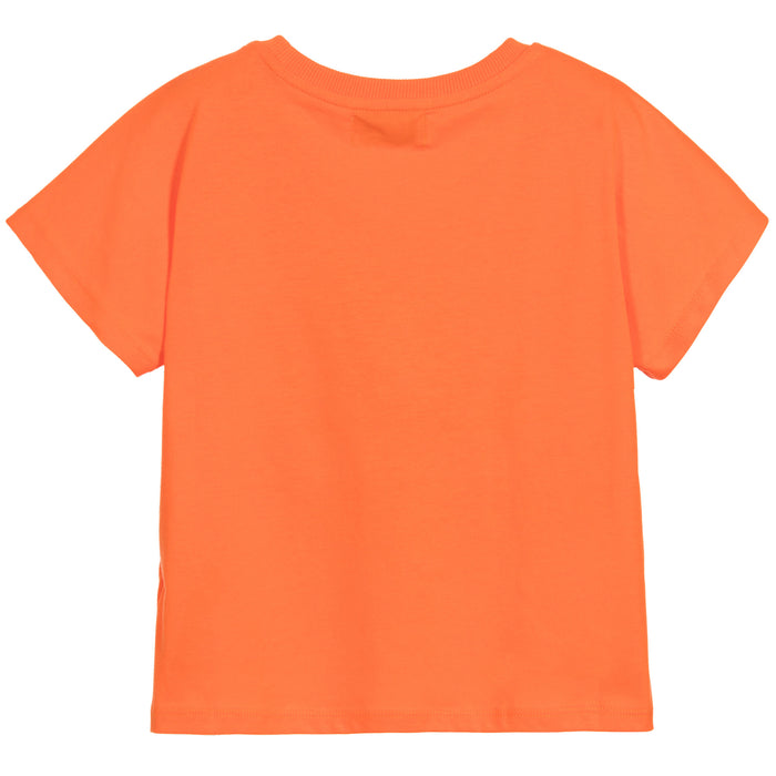 MOSCHINO Girls Orange Cropped Peacock T-Shirt at BOYS & GIRLS ONLINE