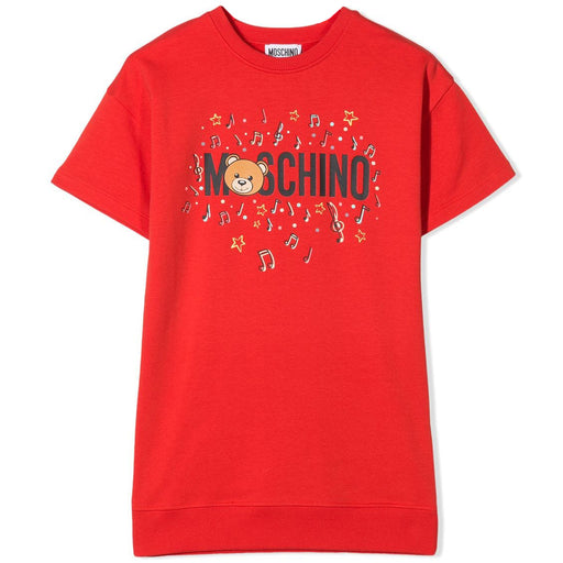 Moschino - Girls Red Cotton Jersey Dress - Kids clothing at BOYS & GIRLS ONLINE