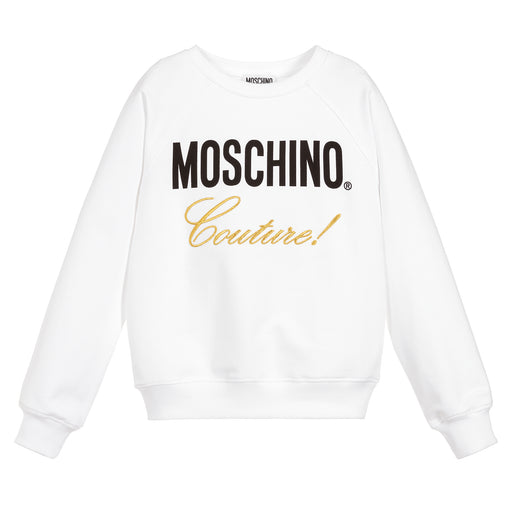 Moschino Girls White Cotton Logo Sweatshirt - Kids clothes online | BOYS & GIRLS ONLINE
