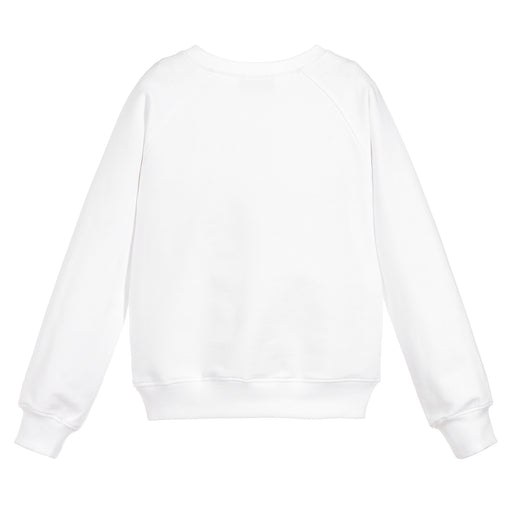 Moschino - Girls White Cotton Logo Sweatshirt - Kids clothing at BOYS & GIRLS ONLINE