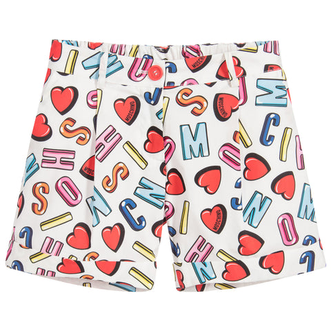 MOSCHINO - Girls White Logo Shorts - Shorts Girl at BOYS & GIRLS ONLINE