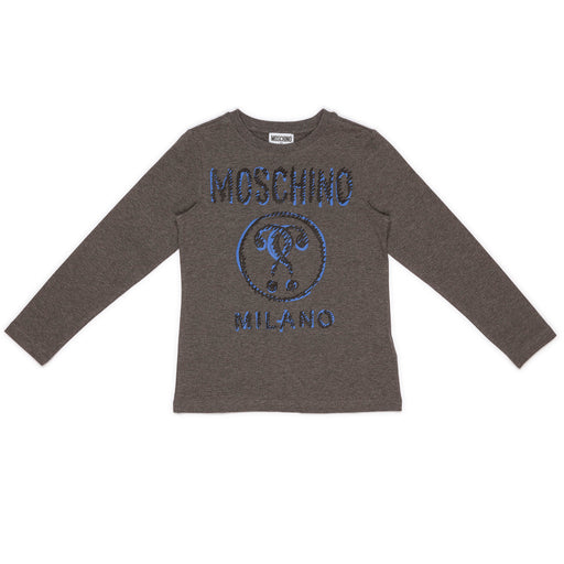 Moschino - Grey Cotton 'Moschino Milano' Logo T-Shirt - Kids clothing at BOYS & GIRLS ONLINE
