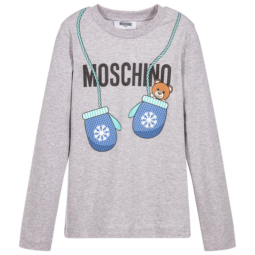 MOSCHINO Grey Teddy Bear Print Top at BOYS & GIRLS ONLINE