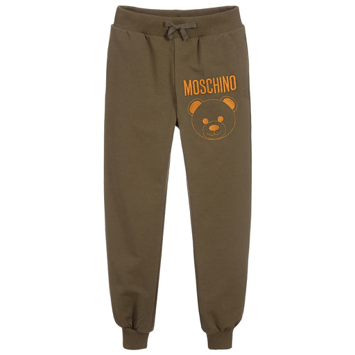 Moschino - Khaki Green Cotton Logo Joggers - Kids clothing at BOYS & GIRLS ONLINE