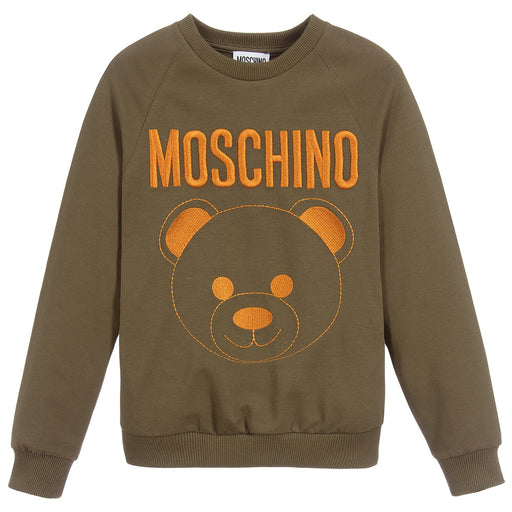 Moschino - Khaki Green Cotton Logo Sweatshirt - Kids clothing at BOYS & GIRLS ONLINE