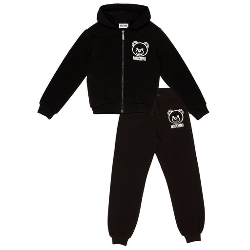 Moschino - Black Cotton Teddy Logo Tracksuit - Kids clothing at BOYS & GIRLS ONLINE