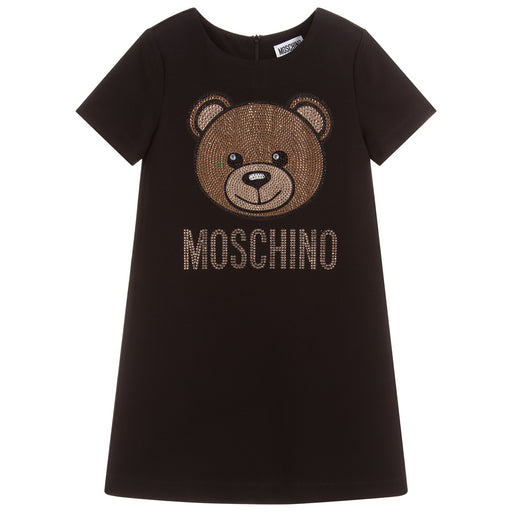 Moschino - Black Viscose Logo Dress - Kids clothing at BOYS & GIRLS ONLINE