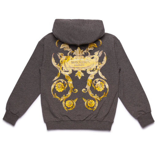 Moschino Boys Grey Baroque Print Hoodie - Kids clothes online | BOYS & GIRLS ONLINE