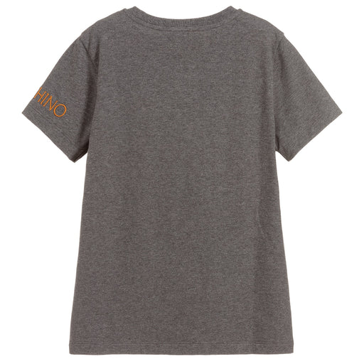 Moschino Boys Grey Cotton T-Shirt - Kids clothes online | BOYS & GIRLS ONLINE