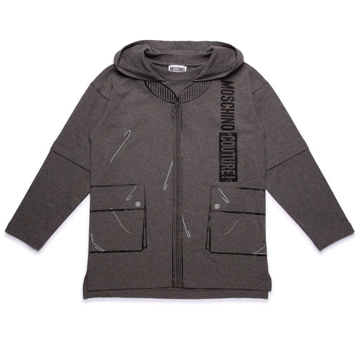Moschino - Boys Grey Logo Print Hoodie - Kids clothing at BOYS & GIRLS ONLINE
