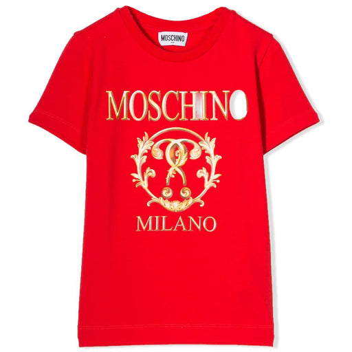 Moschino Boys Red Cotton Logo Roma T-Shirt - Kids clothes online | BOYS & GIRLS ONLINE