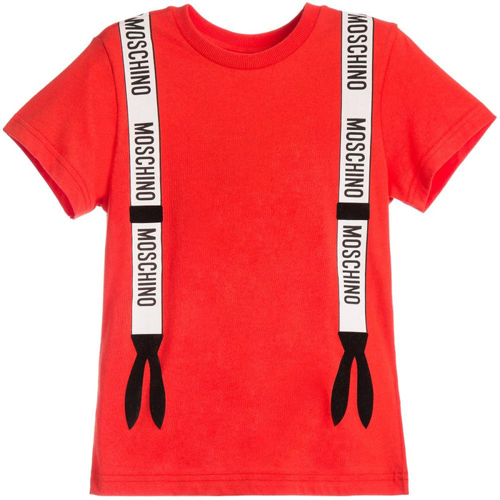 MOSCHINO Boys Red Cotton T-Shirt at BOYS & GIRLS ONLINE