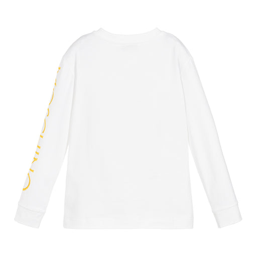Moschino Boys White Cotton Logo Roma Top - Kids clothes online | BOYS & GIRLS ONLINE