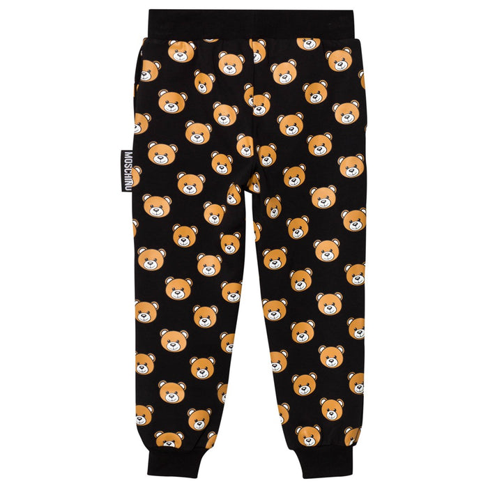 Moschino-Girls Black All Over Bear Print Sweatpants-boysgirlsonline.com