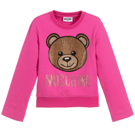 Moschino Girls Pink Cotton Cropped Teddy Sweatshirt - Kids clothes online | BOYS & GIRLS ONLINE