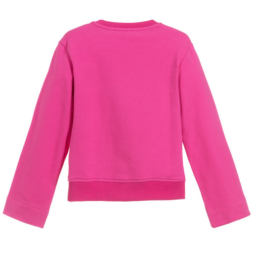Moschino - Girls Pink Cotton Cropped Teddy Sweatshirt - Kids clothing at BOYS & GIRLS ONLINE
