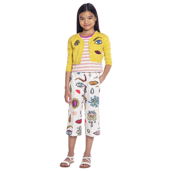 MOSCHINO Girls White Cotton Trousers at BOYS & GIRLS ONLINE