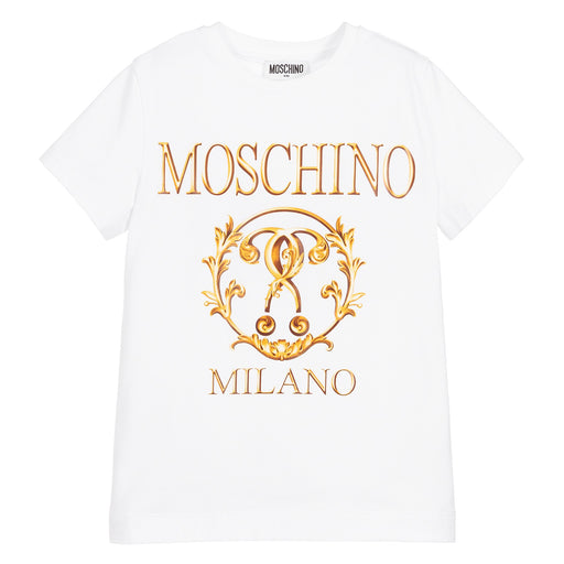 Moschino Boys White Cotton Logo Roma T-Shirt - Kids clothes online | BOYS & GIRLS ONLINE