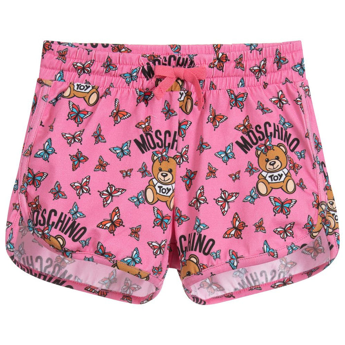Girls Pink Cotton Jersey Shorts with Butterfly Print