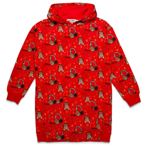 Moschino - Girls Red Cotton Logo Sweatshirt Dress - Kids clothing at BOYS & GIRLS ONLINE